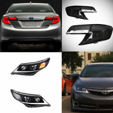 Black Headlights & LED Smoked Rear Lamp For Toyota Camry Assembly 2012-2014 Set