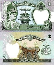 NEPAL 2 Rupees Banknote World Paper Money Currency Pick p29d 2001 Leopard & King