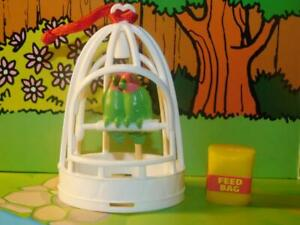 Dollhouse Miniature Love Birds in Cage with Bird Seed Fits Fisher Price Dolls