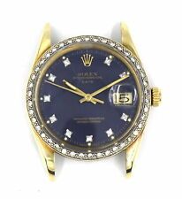 VINTAGE ROLEX OYSTER PERPETUAL DATE 1503 WRISTWATCH DIAMOND BLUE DIAL 14K GOLD