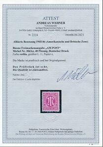 BI-ZONE 1945, Mi. 30 d A **, Zähnung + Farbe mit FA BPP!! Tadellos!! Mi. 550,--!