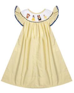 NWT Girls PRINCESS Bishop Yellow Gingham Smocked Dress - Size 4