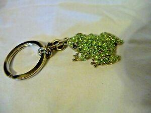 Light Green Rhinestone Filled 3D Frog Keychain