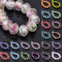 12x8mm Lampwork Crystal Glass Rondelle Faceted Loose Spacer Beads DIY Jewelry