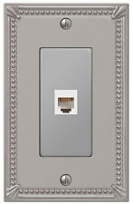 PHONE JACK & HARDWARE SWITCHPLATE IMPERIAL BEAD W/ BRUSHED NICKEL FINISH 74PHBN