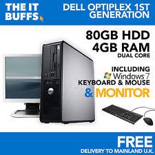 Dell OptiPlex Dual Core 4GB Ram 80GB 32BIT Windows 7 computadora PC de Escritorio Paquete
