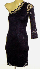 JANE NORMAN StretchBlkLace1ShoulderMiniParty Size12 EUC
