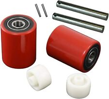 """Pallet Jack/Truck Load Wheels Full Set with Axles and Rollers 3"""" x 3.75"""" Red"""