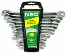 """Combination Spanner Set 12pc SAE imperial Wrench Polished Ring Open Set 1/4-7/8"""""""