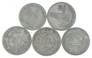 Lot of 5 Guatemala 10 Centavos 1924 1961 1953 1951 1945 Silver Coin Lot *517