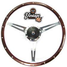 "Vw T2 T3/25 T4 Camper Van Caravelle 17"" Polished Riveted Wood Rim Steering Wheel"