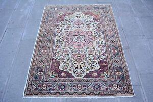 Pink Rug 3.9x5.2,Turkish Rug,Antique Rug,Decorative Rug,Floor Mat,Entrance Rug.