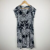Mela Purdie Womens Dress Size 12 Black White Boho Floral Maxi Dress Gorgeous