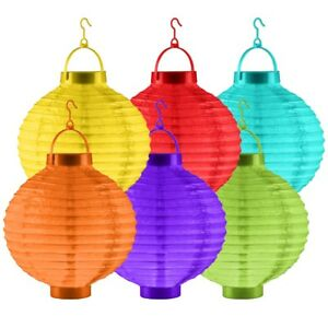 PAIR OF OUTDOOR LED LIGHT PAPER LANTERNS Bright Garden Party Chinese Lamp Shade