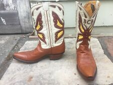 Stallion X Buffalo Chips NY Burgundy Yellow Butterfly Brown 5.5 C Cowboy Boots