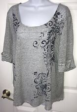 Lauren Ralph Lauren LRL Sz XL Linen Boxy Blouse Tee Striped Floral Scoop Neck