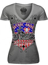 Lethal Angel USA Motorcycle American Flag Biker Punk Womens V-Neck Shirt LT20335