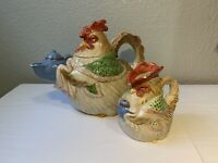 Vintage Fitz and Floyd 1987 Bacon and eggs Hen Teapot and Creamer Rooster 42oz