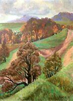 painting art socialist realism vintage landscape field Usyk socrealizm 1990