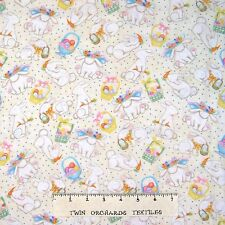 Easter Fabric - Bunny Rabbit & Egg Toss Cream - AE Nathan YARD