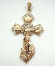 Vntg Lrg Fabulous Solid 14K 3-Color Gold 3D Cross Pendant JESUS GOD MEN'S HEAVY