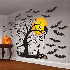 Halloween Cemetery Wall Scene Setter Party Decoration Kit Gothic Graveyard Bats