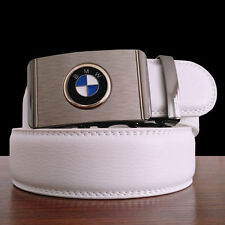 Mens White Leather Belt Waistband Waist Strap With Luxury BMW Automatic Buckle