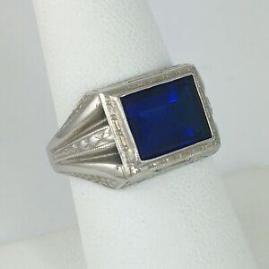 Bold Vintage Blue Stone Signature Ring 10k Gold