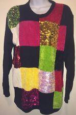 Women's Victoria Harbour Black Sequin Color Squares Tunic Sweater Medium