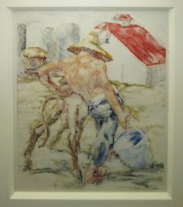 Elmer Plummer '32 California WPA Era Exhibited Monotype Listed Disney Artist