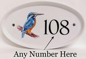 Kingfisher Bird Oval House Door Number Plaque Blue Bird Ceramic Sign Any Number