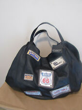 NWT LAURA DI MAGGIO PATCH WORK BLACK LEATHER X LARGE HOBO BAG-VERY RARE-TOP LINE