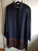 Ulla Popken Chiffon Longbluse schwarz + Streifen orange transparent Bluse 50/ 52