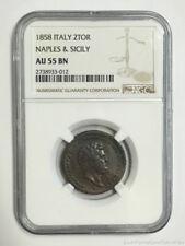 1858 Italy Naples & Sicily 2 Tornesi Copper Coin NGC AU55BN