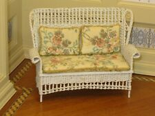 Lee McCurley Wicker Settee w/ Floral Upholstery - Artisan Dollhouse Miniature