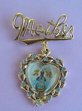 """VINTAGE """"MOTHER"""" RELIGIOUS GOLDTONE PIN BROOCH VGC"""