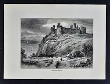 1878 Picturesque Print - Harlech Castle - Medieval Fort - Gwyned Wales UK