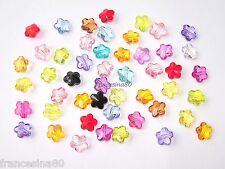 20 perle a Fiore sfaccettate 13mm vari colori forate