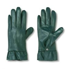 A New Day - Women's green leather ruffle gloves - wrist length - XS/S - NWT