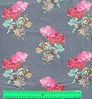 1/2 yard GERANIUM Flowers Floral Pink Red on Navy Quilt Patchwork Fabric