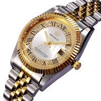 Gold Watch Reginald Fashion Mens Womens Stainless Steel Quartz Date Wrist watch