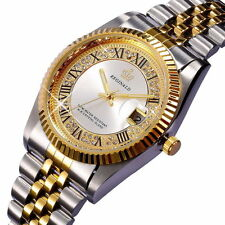 Fashion Mens Womens Gold Stainless Steel Diamond Roman Face Quartz Wrist Watch