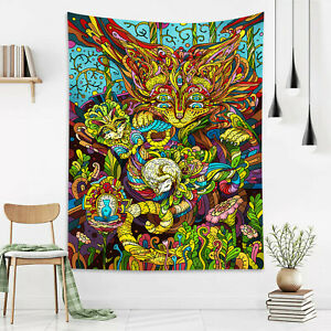 Color Psychedelic Abstract Animal Plant Tapestry Wall Hang Living Room Bedroom