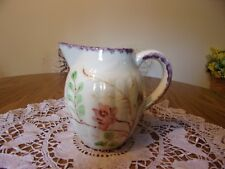 BLUE RIDGE CHINA PITCHER WITH FLOWERS & PURPLE TRIM