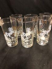 Vintage Libbey Glassware Set Of 6 Hi-Ball Glasses White and Gold Horses MCM