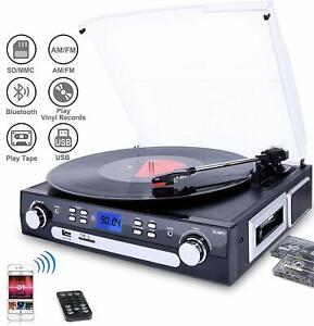 DIGITNOW! Tocadiscos Bluetooth Altavoces Estéreo 33/45/78 RPM Casset MP3 Radio