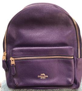 Coach F30550 Medium Charlie Purple Backpack School Bag Pebble Leather