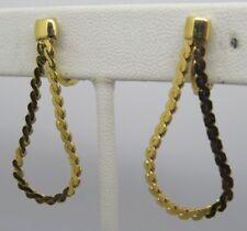 """E3 Vtg Monet Gold Tone Chain Hoop Clip On Earrings 1.5"""" Estate NOS"""
