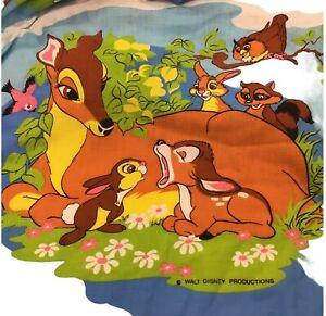 Vintage Sears Walt Disney Bambi & Friends Full Flat Bedspread w/Fringe Border