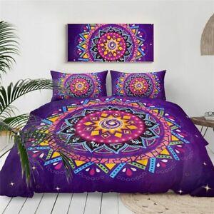 Lionhearts Bedding Set Purple Comforter Cover Queen Size Bohemian Bed Set